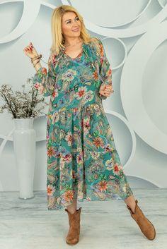 Sukienka Ermenesa Spring Collection, Paisley, Dresses With Sleeves, Shirt Dress, Long Sleeve, Shirts, Fashion, Tunic, Moda
