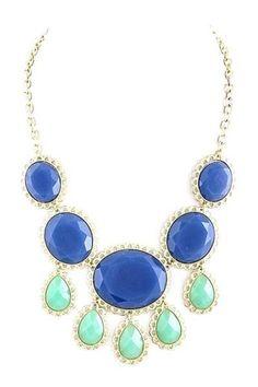 cobalt & mint statement necklace