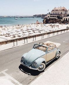 beach and a volkswagen bug