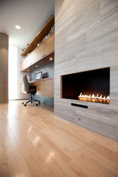 ocean blue travertine Family Room Contemporary with condo Fireplace modern stone