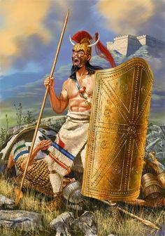 Ájax Telamón defendiendo el cuerpo de Patroclo ante las murallas de Troya, por cortesía de Johnny Shumate. Más en www.elgrancapitan.org/foro