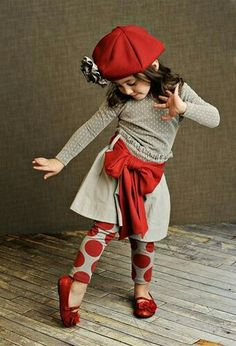 """Red sash and polka dot leggings ADORABLE Parisian childrens fashion Awww! Emmy this looks like your baby!"