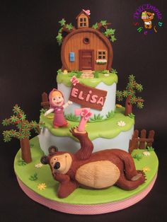 Masha and the Bear - Cake by Sheila Laura Gallo Mais Baby Birthday Cakes, Bear Birthday, 2nd Birthday, Masha Cake, Masha Et Mishka, Marsha And The Bear, Bear Party, Bear Cakes, Girl Cakes