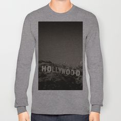 Vintage Hollywood sign Long Sleeve T-shirts by Claude Gariepy - $28.00