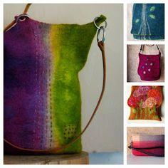 Fiona Duthie inspiration and potential workshops. Nuno Felting, Needle Felting, Felt Purse, Wool Art, Felting Tutorials, Wool Applique, Felt Hearts, Purses And Bags, Crochet