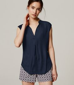 Stitch Fix syles: love this crisp summer look. the color is perfect and the shorts are a nice flattering style with a cool pattern. not too much