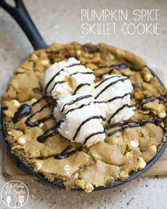 Pumpkin Spice Skillet Cookie - an easy 2 ingredient dessert that is ready in 15 minutes for the perfect fall treat