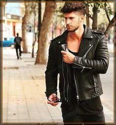Men s Sexy Leather Jacket Moda Masculina ed3fbfc8aad3