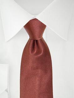Cravate unie marron glacé à 7 plis