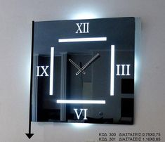 Modern Square Mirror Clock with LED Lighting, Roman Numeral, German Clock Movement Big Wall Clocks, Mirror Wall Clock, Large Clock Hands, Led, Clock Movements, China Products, Quartz, Glass, Modern