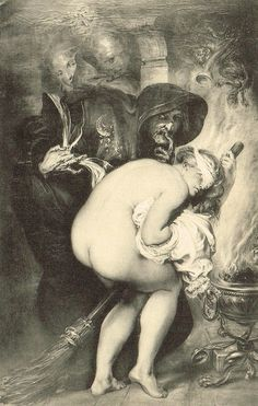 The Young Witch, 1857 Fine Art Magical Erotic Grotesque Painting by Antoine Wiertz, 1900s Original Belgian Litho Rare Postcard