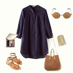 Navy Stand Collar Long Sleeve Buttons Blouse