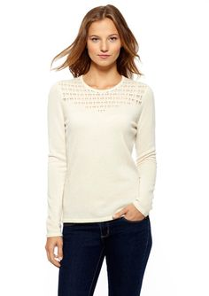 FORTE CASHMERE Cashmere Lattice Stitch Sweater