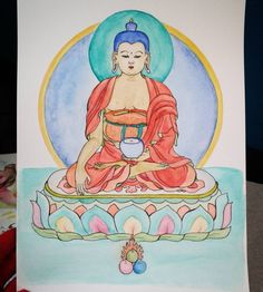 Buda, aquarela e Nanquim.  Um exercício de Thangka em aquarela. Buddha, watercolor and ink. An exercise of Thangka. #buddha #buda #watercolor #aquarela #ink #nanquim #thangka #learning #art #painting #paintings #pintura #sakyamuni #shakyamuni #buddhism #budismo #arttherapy #arte