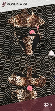 NWT. Cheetah bikini As shown. Brand new. As shown. Size large fits large C/D/DD CUP Swim Bikinis