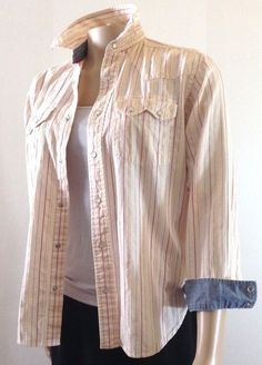 Women s Tommy Jeans Classic Striped Long Sleeves Button Down Shirt Top  Small  TommyHilfiger  ButtonDownShirt 39894fc0e