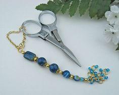 Scissor Fob, Blue Agate, Sediment Jasper, Gold, Key Fob, Purse Fob, Blue, DIY Crafts, Needlepoint, Sewing, Quilting, Knitting, Gift