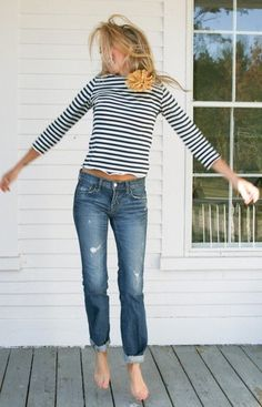 Jeans and striped tee.
