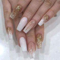 Extraordinary And Super Trendy Gel Nails Designs Gel nails designs are extremely popular. That is why we decided that the freshest nail art compilation may be just what you need. All the best designs are gathered in one place. Take your pick! Gold Acrylic Nails, Matte Nails, My Nails, Gold Coffin Nails, Stiletto Nails, White Gold Nails, Gold Glitter Nails, Oval Nails, Diamond Nails