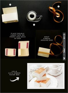 ribbon wrapped favor boxes   CHECK OUT MORE IDEAS AT WEDDINGPINS.NET   #diyweddings