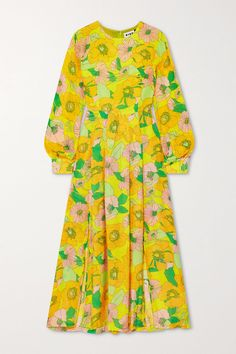 Multicolored modal Concealed hook and zip fastening at side modal; Dress Outfits, Fashion Dresses, Yellow Midi Dress, Simple Prints, Cutout Dress, Summer Trends, Simple Dresses, Romantic Dresses, Fashion Prints