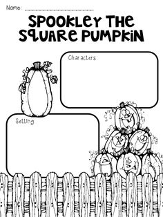 Label the parts of a book with a halloween theme word for Spookley the square pumpkin coloring pages