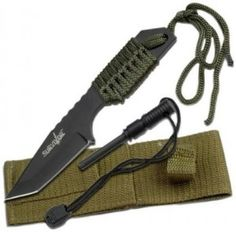 Survivor Outdoor Fixed Blade Knife - Equipped with a full-tang, matte-finished, black stainless-steel tanto blade, this versatile and practical military-style tanto knife is a terrific choice for knife enthusiasts.