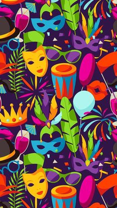 Mardi Gras Beads, Mardi Gras Party, Caribbean Carnival, Holiday Wallpaper, Colour Pallette, Work Party, Masquerade, Cute Wallpapers, Vintage Posters