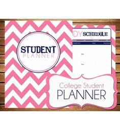Instant Download - Student - College Planner Pink Chevron Printable Planner Organizer  - (Organized Family Binder)