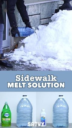 Avoid Slips And Falls This Winter With This Easy To Make Sidewalk Melt Solution Diy Cleaning Products, Cleaning Solutions, Cleaning Hacks, Car Cleaning, Ice Melter, Snow Removal Services, Winter Hacks, Winter Tips, Slip And Fall