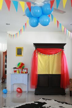 Photo 5 of 14: Circus Party / Birthday Twins 2nd Birthday | Catch My Party ... love the red tulle and pom pom garland