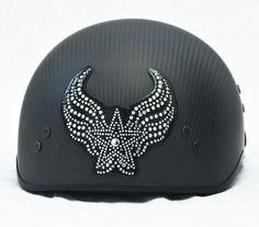Star Wing Rhinestone Motorcycle Helmet Bling Patch #LadyBiker #motorcycle #helmet #bling www.SouthernLeathers.com