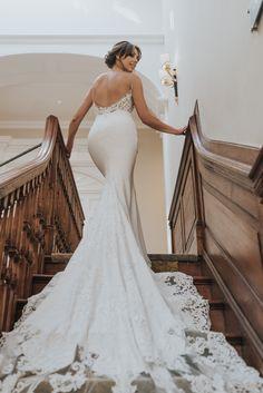The gorgeous Beth modelling the Enzoani McKinley dress. Boohoo Wedding Dress, Wedding Dress Backs, Dream Wedding Dresses, Bridal Dresses, Wedding Gowns, Santorini Wedding, Different Dresses, Wedding Dress Shopping, Wedding Styles
