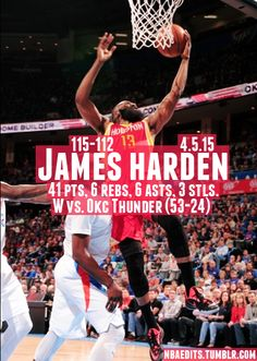 James Harden - 4.5.15 - W vs. Oklahoma City Thunder - http://nbafunnymeme.com/nba-best-players-of-the-day/james-harden-4-5-15-w-vs-oklahoma-city-thunder