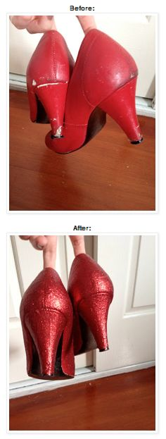 DIY ruby slippers/fixing hacked up heels. http://whatkatiedaydid.blogspot.com.au/2012/02/ruby-slippers.html