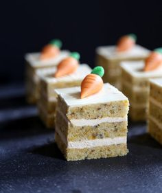 From creamy cheesecake to coconut cream puffs, these springtime desserts will satisfy every type of sweet tooth. After enjoying a festive and filling Easter meal, their tiny size ensures you'll still have room to indulge. Cupcakes, Cupcake Cakes, Slow Cooker Desserts, Mini Carrot Cake, Carrot Cakes, Easy Cake Recipes, Dessert Recipes, Mini Carrots, Individual Cakes