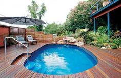 semi inground pools | Inground pool + deck