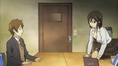 "This is from the anime ""Kokoro Connect."" The couple in this anime gif are Taichi Yaegashi and Himeko Inaba. Japanese S, Japanese Cartoon, Slice Of Life, Kokoro Connect, Yukine Noragami, Anime Dvd, Brand New Day, Man Wallpaper, Meet Girls"