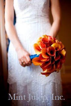 Orange Calla Lily Bouquet ~ Coordination by Mint Julep Social Events.