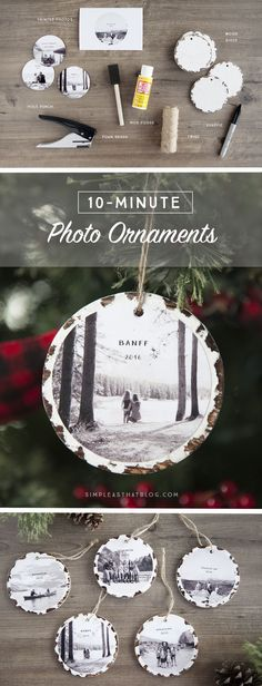 Trim the tree with these 10 minute photo keepsake ornaments. They take no time a… Trim the tree with these 10 minute photo keepsake ornaments. They take no time at all to make and it will mean so much to fill the tree with family memories. Noel Christmas, Diy Christmas Ornaments, All Things Christmas, Winter Christmas, Christmas 2019, Wood Ornaments, Christmas Centerpieces, Christmas Ornaments With Pictures, Diy Homemade Christmas Gifts