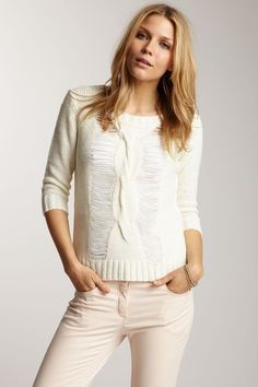 Romeo & Juliet Couture Woven Knit Slash Front Sweater by Blowout on @HauteLook