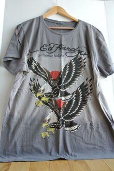 d3609fa7f6 Ed Hardy Men s XXL 2X T-Shirt Gray Two Soaring Eagles HUGE LARGE EAGLE
