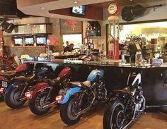 Bar seats from repurposed motorbikes