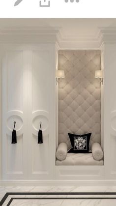 Love how they carried the tufted seat up the wall - craft room or Oakley's room Bedroom Closet Design, Home Room Design, Dream Home Design, Interior Design Living Room, House Design, Home Entrance Decor, House Entrance, Home Decor, Ideas Cabaña