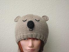 Koala bear animal hat beanie. Wool / silk / mohair by HotScones, $50.00