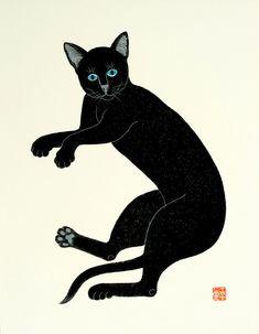Cat art prints, Japanese cats posters, animal art poster, animal paintings, Black Cat FINE ART PRINT, children kids room wall art poster