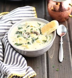 Slow Cooker Creamy Tortellini Spinach And Mushroom Soup | 3 Yummy Tummies