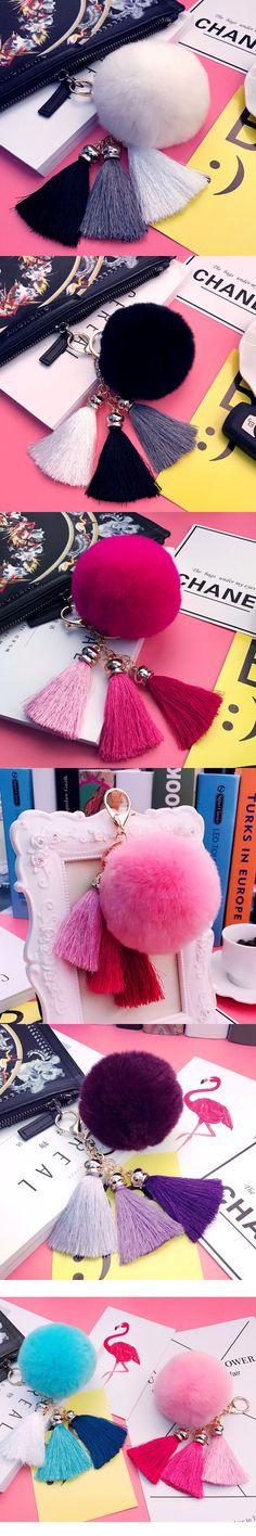 Tassels Rabbit Fur PomPom Fluffy Fur Ball Pompons Keychains Keyring Car Key Chain for Women Holder Bags Charm Phone Pendant