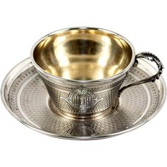 Antique French Sterling Silver Coffee or Tea Cup, Saucer. 18k Vermeil Interior found at www.rubylane.com @rubylanecom