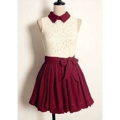 Vintage Flat Collar Color Block Sleeveless High-waisted Lace Pleated Dress For Women, WINE RED, ONE SIZE in Vintage Dresses | DressLily.com